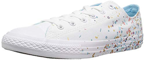 Converse Girls' Chuck Taylor All Star Metallic Foil Low Top Sneaker, Optical White, 6 M US Big Kid