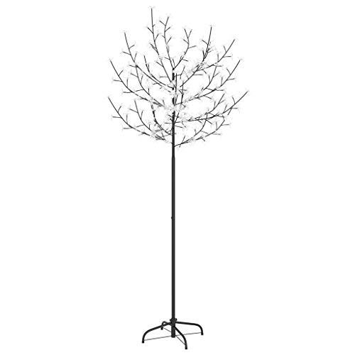 vidaXL Árbol de Navidad 200 LEDs blanco azul flores de cerezo 180 cm