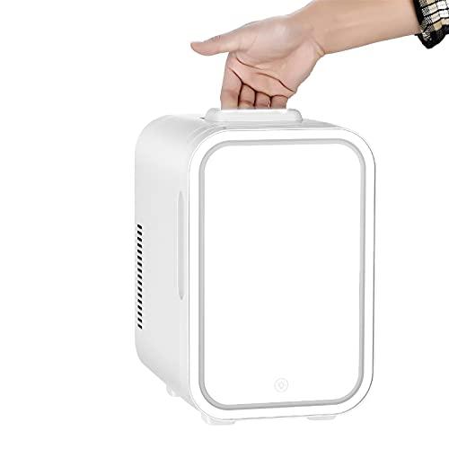 XXRUG Mini Frigorifico Cosmeticos, Nevera Eléctrica Refrigerador Portátil Silenciosa con LED Espejo Compacto Termostato Ajustable para Skincare Alimentos Bebidas