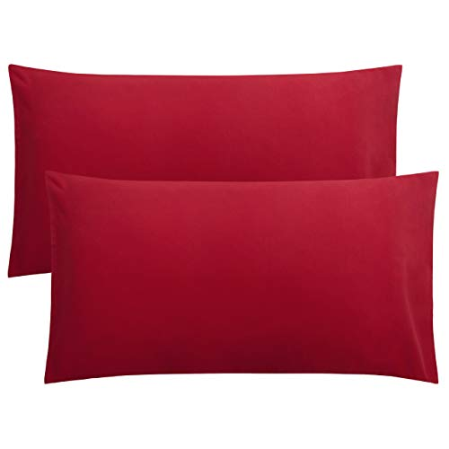 FLXXIE 2 Pack Microfiber Pillowcases, Envelope Closure, Ultra Soft and Premium Quality, 20' x 36' (Wine Red, King)