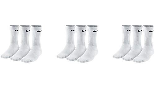 Nike 9 Paar Herren Damen Socken SX4508 weiß oder schwarz oder weiß grau schwarz, Sockengröße:38-42, Farbe:3 x weiß