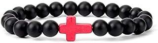SOLDOUT™ Charm Natural Stone Cross Bracelet Black Matte Beaded Yoga Bracelets Handmade Men Women Prayer Fitness Couple Jew...