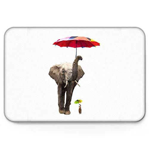 Teppich Teppiche Carpet Taracarpet Fußmatte Elefant mit Regenschirm Maus lustiges Tier Vorleger 40X60CM