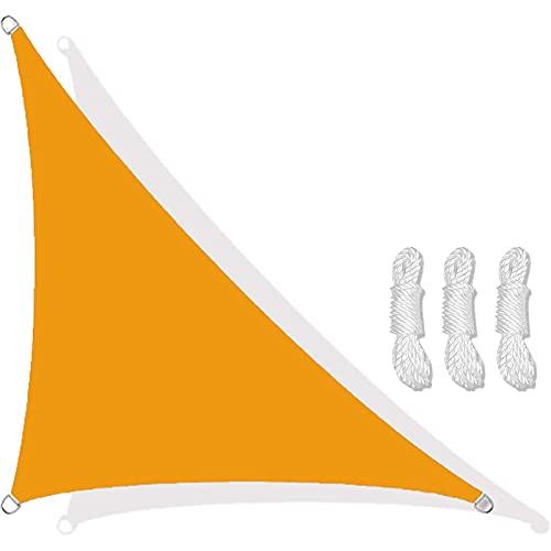 Triangular Velas De Sombra 3x4x5m Para Patio Toldos Exterior Terraza Con Cuerda Libre Protección Rayos UV Impermeable Para Patio Exteriores Jardín Balcón (color:Amaril(Size:3*4*5m(9.8*13.1*16.4ft))