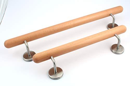 Holz-Handlauf Set mit halbrunden Abschlüssen und Haltern 50-250cm am Stück (Buche, 50cm)