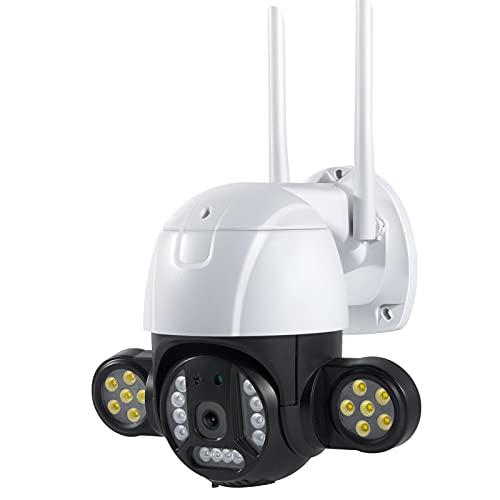 Jings Cámara inalámbrica para Exteriores, cámara de Reflector WiFi PTZ de 3MP, cámara IP de detección Humana de Audio bidireccional, cámara CCTV Nocturna con Infrarrojos Resistente al Agua