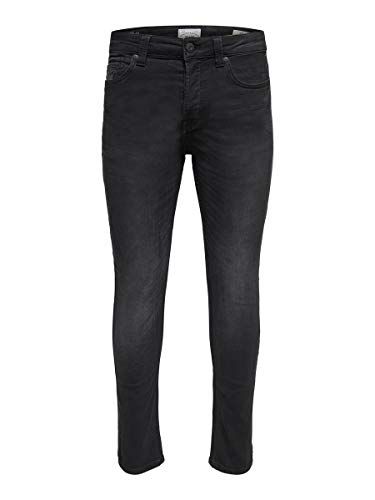 ONLY & SONS Herren Slim Fit Jeans ONSLoom Black Jog 3230Black