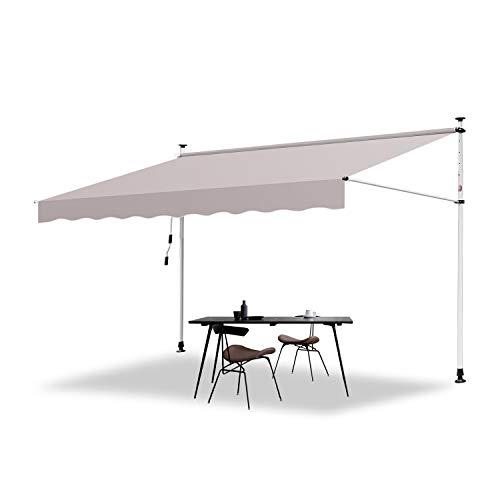Hengda 350 x 120 cm Markise Einziehbar Klemmmarkise Balkonmarkise Sonnenschutz ohne Bohren Höhenverstellbar