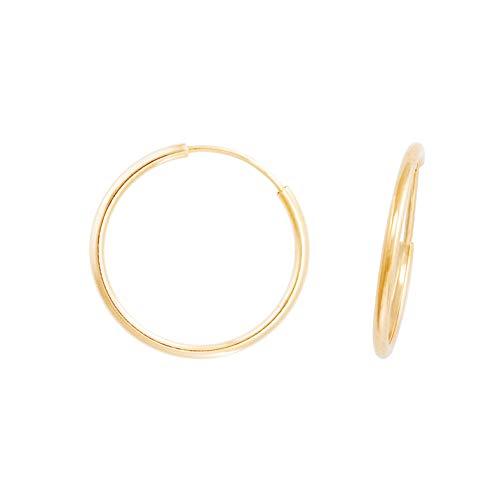 Pendientes de aro redondos lisos flexibles de oro amarillo (375/1000) 20 mm