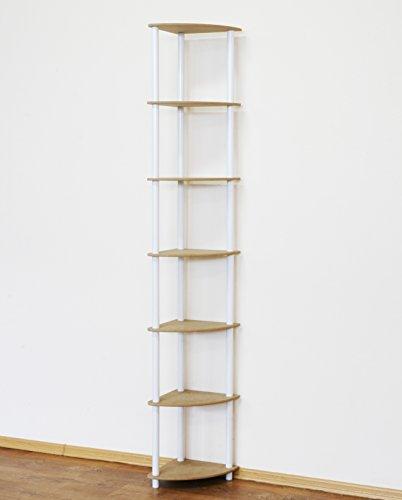 MODO24 Rohrregal Büroregal Kellerregal Eckregal Bücherregal 7 Böden (Weiß) DEDAL-7Z