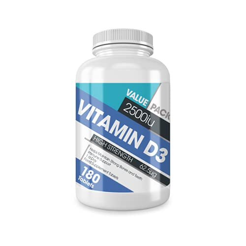 Vitamin D3 2500iu - Safe High Strength - 180 Premium Vitamin D3 Cholecalciferol Tablets - One a Day High Strength Vegetarian Supplement - Made in The UK by Protein Dynamix