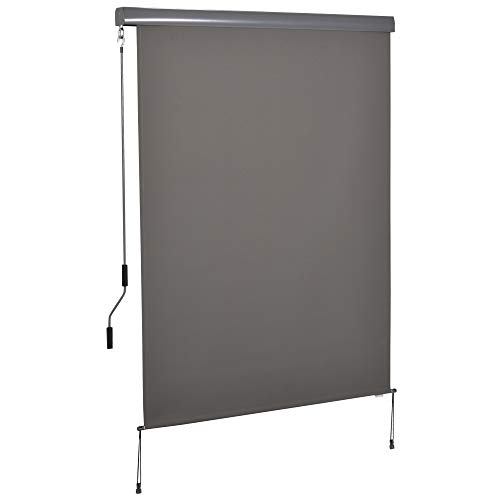 Outsunny Senkrechtmarkise Balkonmarkise Vertikalmarkise Windschutz Seitenrollo Sichtschutz mit Handkurbel Polyester+Aluminium Grau 140 x 250 cm