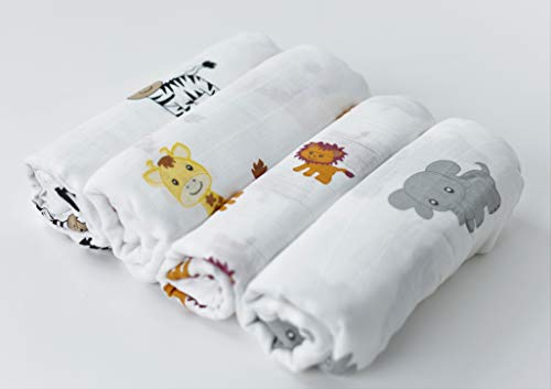 CuddleBug Mussole Neonato Pacco da 4 – Copertina neonato leggera disponibile in 4 design – Mussola neonato 120 cm X 120 cm – Copertina neonato cotone Unisex – Regali neonati (Amici della Savana)