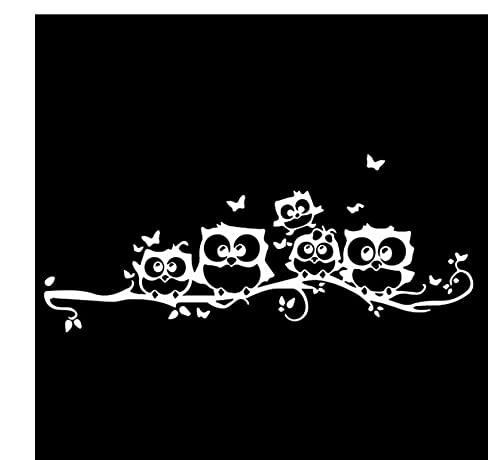 MDGCYDR Pegatinas Coche Graciosas 18,8 Cm * 7,8 Cm Búho Mariposa Coche Pegatinas Decoraciones Pájaros Vinilo Calcomanías Negro/Plata