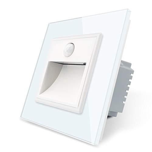LIVOLO VL-C7-TBW-11-VL-C7-SR-11-A - Iluminación para escaleras con detector de movimiento, incluye marco de cristal