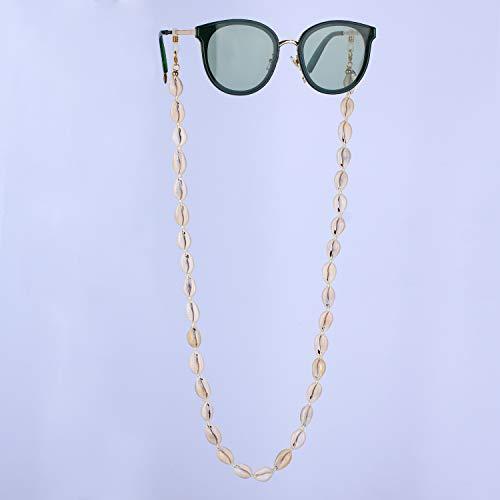 KANYEE Shell Retenedor de anteojos Gafas de Sol Cordón Correa para Gafas Cordones de Cadena Percha con Cuentas Práctico anteojos Cubierta Facial Retenedor Cadena para Sujetar Alrededor -1J