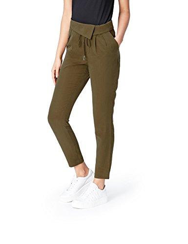 Marca Amazon - find. Pantalones de Pinzas para Mujer, Verde (Khaki), 38, Label: S