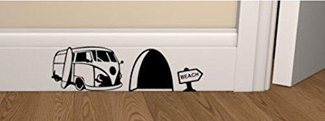 """Mauseloch-Wand-Aufkleber, Fußleisten-Aufkleber """"Surf Van"""", 18 cm x 5 cm, britischer Verkäufer"""