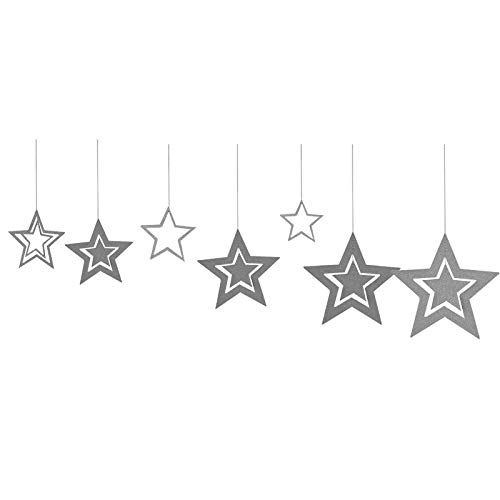 RETY Christmas Ornament, Rose Gold Hollow Star Paper Garland, Suitable for Christmas Party Decoration Silver