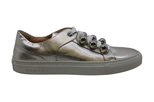 Carven Womens 9133Sc182 Leather Low Top Lace Up Fashion, Argent, Size 8.0