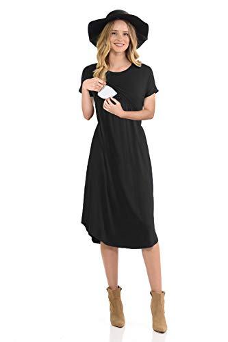 CzzzyL Nursing Tops for Breastfeeding, Womens Nicely Loose Casual Round Neck Knee Length Maternity Empire Waist Nursing Dress Plus Size Flowy Modern Feeding Dress(Black,Small)