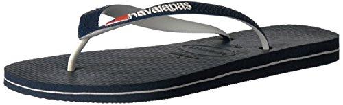 Havaianas Men's Brazil Logo Flip Flop Sandal, Navy Blue, 10-11