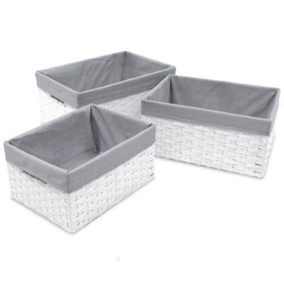W.C. Redmon 3-Piece Basket Storage Set with Grey Liners in White
