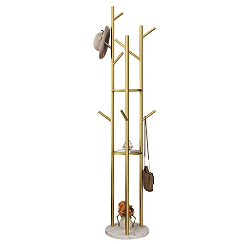 Barra de ropa resistente, organizador de ropa con 2 estantes y 8 ganchos, perchero con base redonda de mármol/dorado / 33×170cm