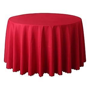 JUNGEN Mantel de Mesa Mantel Redondo de 180 cm Mantel de Mesa de Redonda de Tela Mantel de Camino de Mesa con Color sólido Mantel Decoracion para Cocina Comedor Hotel (Rojo 2)