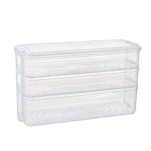 Hjinyu Almacenamiento de Comida para Frigorífico Recipiente Plástico de 3 capas Recipiente...