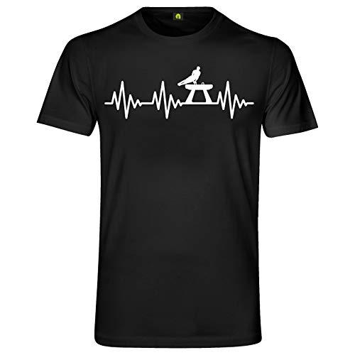 Herzschlag Turnen T-Shirt | EKG | Gymnastik | Sprung | Geräteturnen Pferd Sport Schwarz S