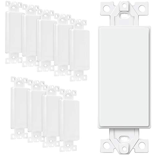 ENERLITES Blank Adapter Insert for Decorator Wall Plates, Unbreakable Polycarbonate Thermoplastic, UL Listed, 6001-W-10PCS, White, 10 Count