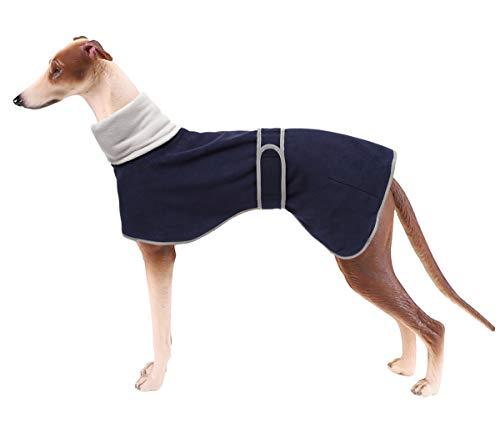 Hundepullover für Windhunde, Winterpullover, warmes Fleece-Futter, mit verstellbaren Bändern für mittelgroße und große Hunde