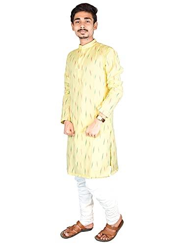 Riyashree Cotton Men's Straight Long Kurta for Men Latest Traditional Ikat Pattern Design 003