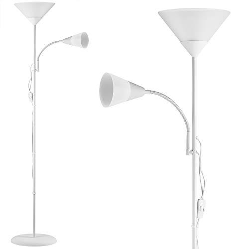 Monzana Stehlampe Weiß Stehleuchte Standleuchte E27 60W verstellbare Lampen Deckenfluter Fluter Deckenstrahler Leselampe