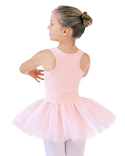 Move Dance Girls Ballet Dance Dress with Hollow Back Sparkle Tutu Skirted Leotard for 3-9 Years