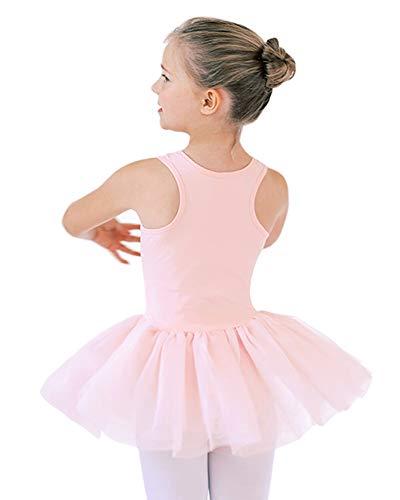 STELLE Cotton Leotards Tutu Dress for Girls Dance Birthday Dress Up (Ballet Pink, 100)