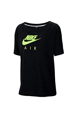 NIKE W NSW Air Top SS BF T-Shirt, Mujer, Black/Volt, S