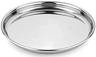STARDOM Stainless Steel High Grade Traditional Dinner Plate/Thali ( Size 15 )