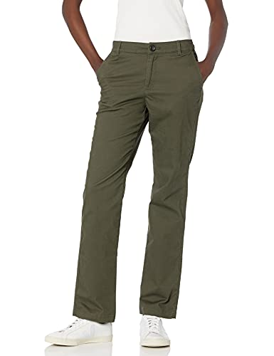 Amazon Essentials Women's Stretch Twill Chino Pant (Available in Straight and Curvy Fits), Dark Olive, 12