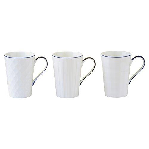Bia Lot de 3 Lux Mugs, Porcelaine, Bleu, 12.5 x 8.5 x 12 cm