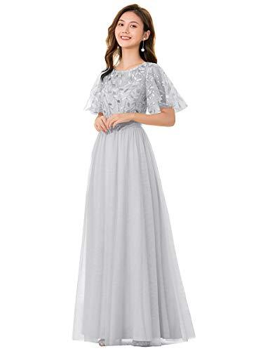 [エバープリティ] ドレス パーティードレス ワンピース 同窓会 結婚式 お呼ばれ グレー 6XL
