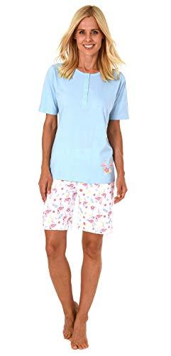 Damen Shorty Pyjama Schlafanzug Kurzarm,Top mit Knopfleiste und süssem Flamingo-Motiv - 191 205 90 104, Farbe:hellblau, Größe2:44/46
