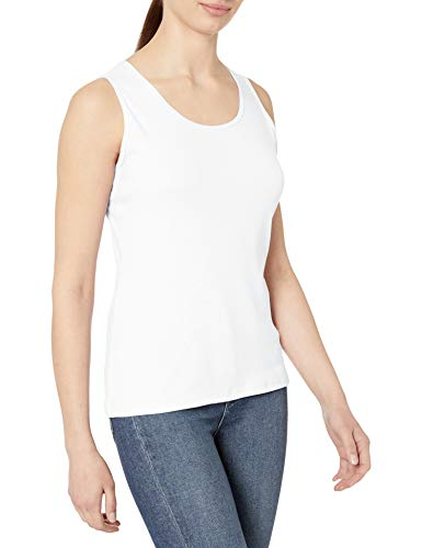 Hanes Women's Mini-Ribbed Cotton Tank, White, Large