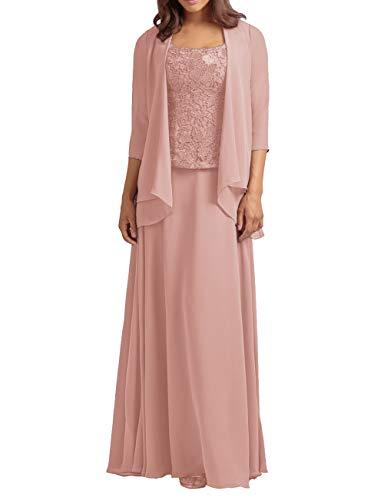 HUINI Vestidos de Noche Vestido de Fiesta para Mujer Largos Gasa Vestidos para la Madre de la Novia Vestidos de Cóctel Rosa Sucio 32