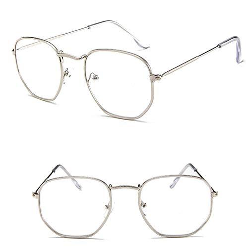 Astemdhj Gafas de Sol Sunglasses Gafas De Sol De Metal Vintage para Mujer, Gafas De Diseñador De Marca, Gafas De Lujo para Mujer/Hombre, Pequeño, Plateado, BlancoAnti-UV