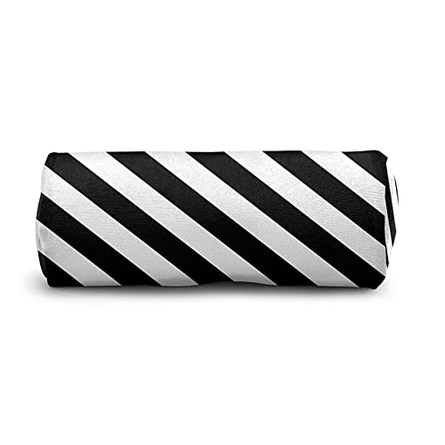 COSNUG Estuche de lápices con rayas blancas y negras para niñas, bolsa de papelería escolar, oficina, bolígrafos y cosméticos