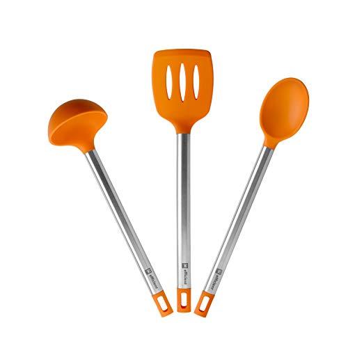 BRA Efficient Set 3 utensilios cocina, 36.5 cm, espátula, cuchara, cazo, Acero INOX, Nailon y Silicona