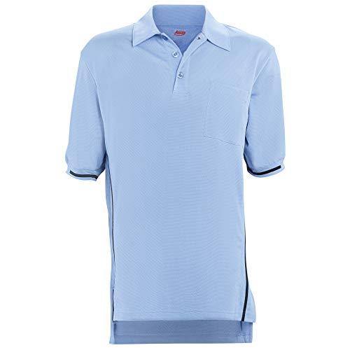 Adams Manufacturing Short Sleeve Baseball Umpire Shirt with Side Stripe - Sized for Chest Protector, Carolina Blue, Medium