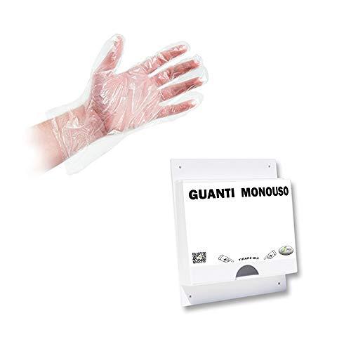 Dispensador de pared para guantes desechable con paquete de 100 guantes PLT para fruta, soporte de servicio